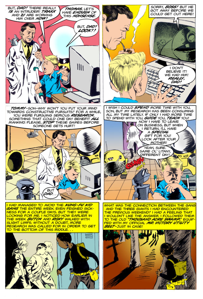 Tommy Rocket No 2 page 35: Mr. Rocket grounds Tommy while Nate follows the Kung fu kid gang